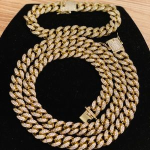New 14k Cuban Link fully Iced out CHAIN & BRACELET